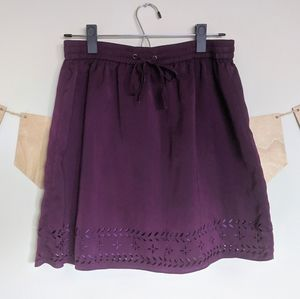 J. Crew Purple Skirt with Cutouts and Elastic